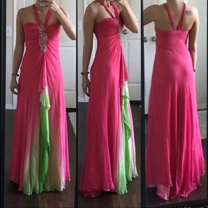 Morrell Maxie pink green embellished prom dress